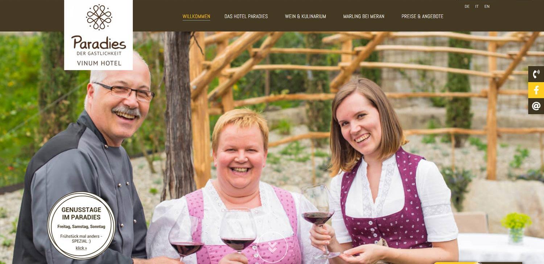 Vinum Hotel Paradies: realizzazione sito web e traduzioni professionali