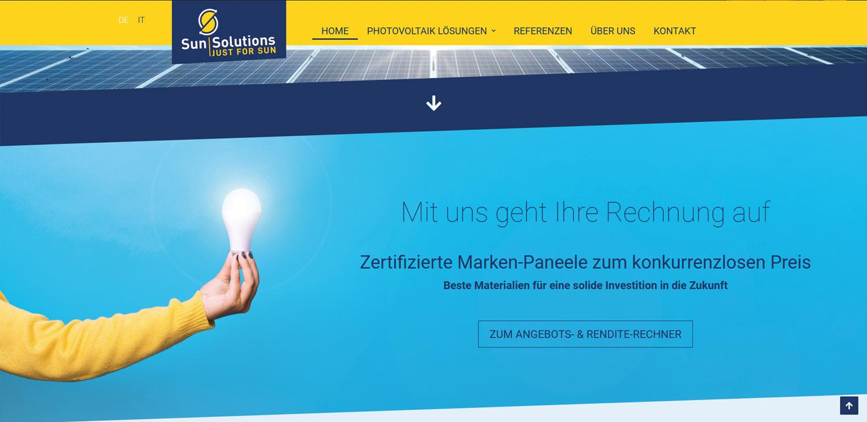 Sun Solutions: sito internet e altri progetti Profi Webmedia