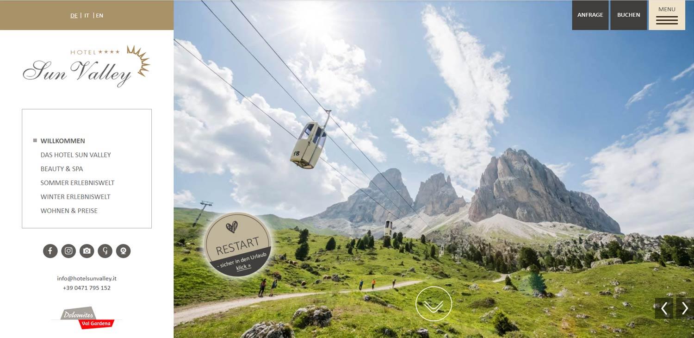Hotel Sun Valley Val Gardena: realizzazione sito web e traduzioni professionali